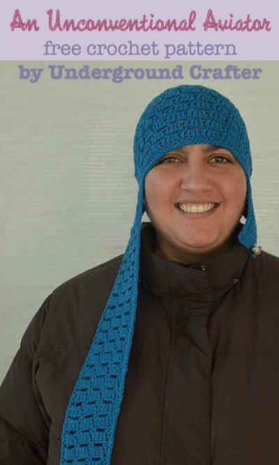 An Unconventional Aviator, free crochet aviator hat pattern by Marie Segares/Underground Crafter