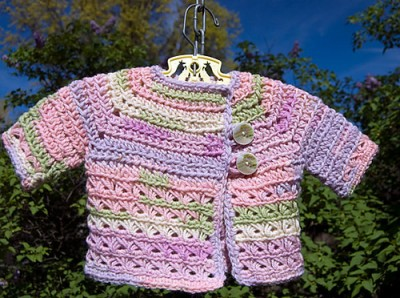Baby in Bloom Sweater, free broomstick lace crochet pattern by Tamara Kelly.