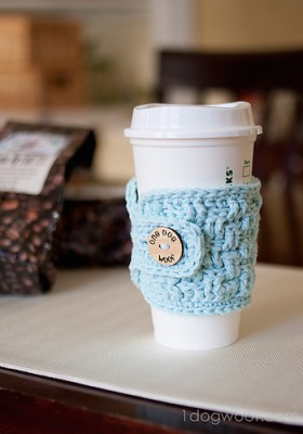 Basketweave Cup Cozy, free crochet pattern by One Dog Woof.
