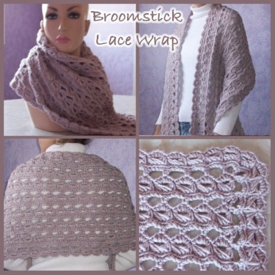 Broomstick Lace Wrap, free crochet pattern by CrochetN'Crafts.