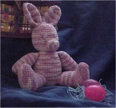 Chenille Stuffed Easter Bunny, free crochet pattern by Kim Guzman.