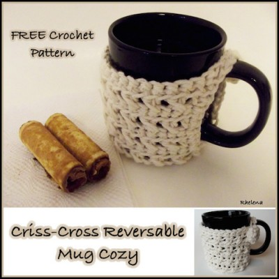 Criss-Cross Reversible Mug Cozy, free crochet pattern by CrochetN'Crafts.