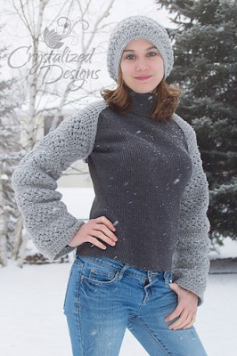 Emma Convertible Shrug, a for sale crochet pattern by Crystalized Designs. You can find the matching Emma Slouchy Hat by Sincerely, Pam here.