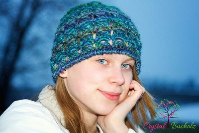 Peacock Lace Beanie, a for sale broomstick lace crochet pattern by Crystalized Designs.