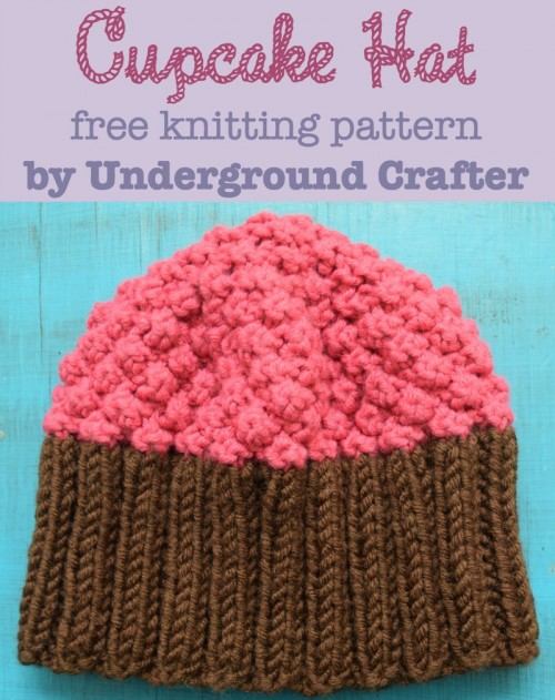 Cupcake Hat, free knitting pattern in newborn, infant, toddler sizes by Marie Segares/Underground Crafter