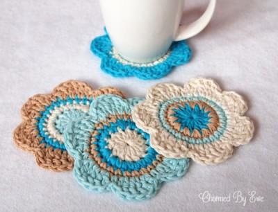 Flower Coasters, free crochet pattern by Janaya Chouinard.