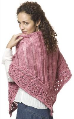 Friendship Shawl, free broomstick lace crochet pattern by Kim Guzman. Image (c) Caron International Yarns.