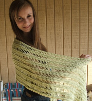 Spring Shawl, free broomstick lace crochet pattern by Kim Guzman.