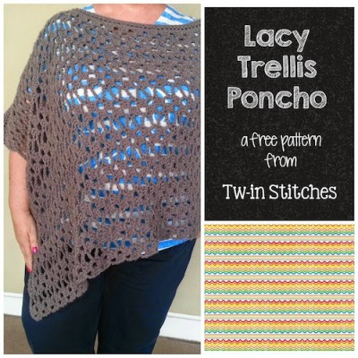 Lacy Trellis Poncho Tw-In Stitches