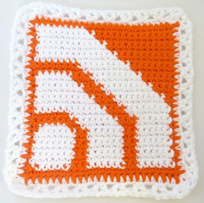 RSS Feed Potholder, free crochet pattern by Book People Studio.