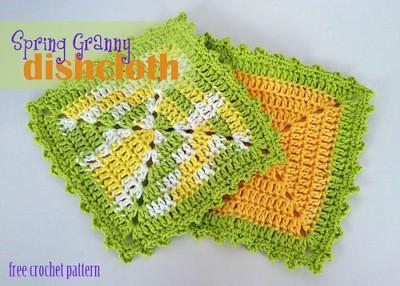 Spring Granny Dishcloth, free crochet pattern by Tia Davis.