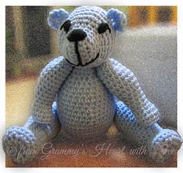 Tessie Bear, free crochet pattern by Deborah Ziegler.