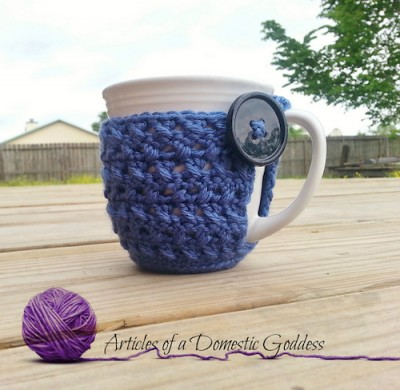 Textured Coffee Mug Hug, free crochet pattern by Articles of a Domestic Goddess.