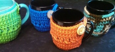 Twisted Stitches Coffee Cozy, free crochet pattern by Beatrice Ryan Designs.