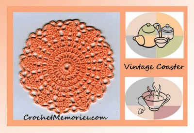 Vintage Ruffled Coaster, free crochet pattern on the Crochet Memories Blog.