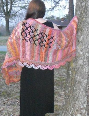 Abstract Treasures Shawl, crochet pattern by Tammy Hildebrand for sale on Craftsy.