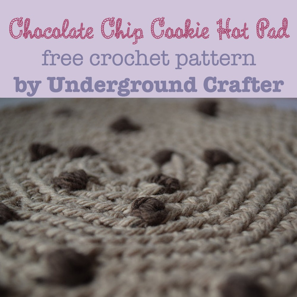 Chocolate Chip Cookie Hot Pad, free crochet pattern by Underground Crafter