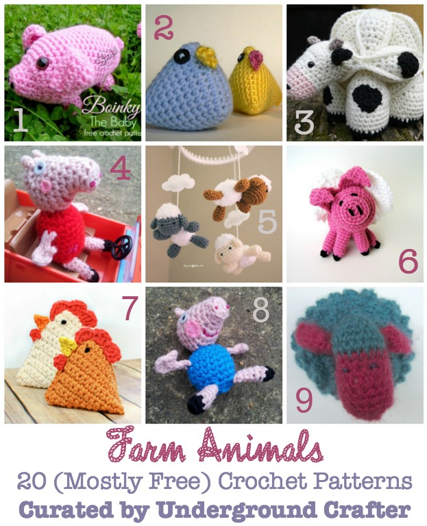 Roundup: 20 Crochet Amigurumi Patterns for Farm Animals including free and for sale patterns, curated by Underground Crafter | Make chickens, sheep, cows, and pigs from these great patterns!
