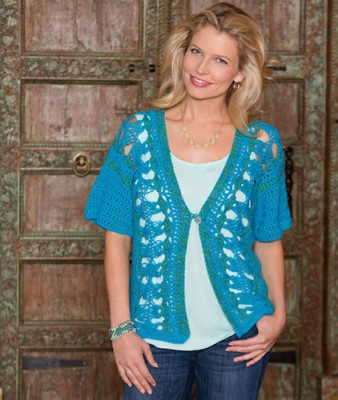 Hairpin Lace Vest, free crochet pattern by Tammy Hildebrand. Image (c) Red Heart Yarn.