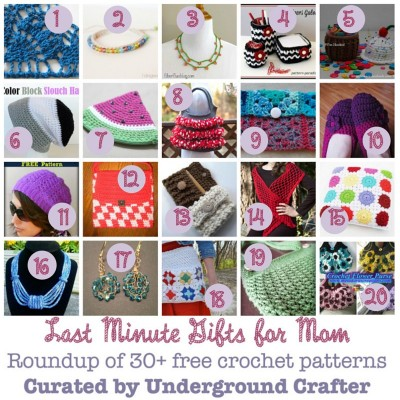Last minute crochet gifts for mom roundup by Underground Crafter including links to over 30 free patterns
