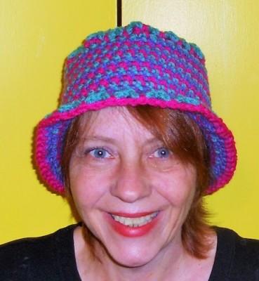 Tammy Hildebrand, wearing her Celebration 2015 Hat, a free crochet pattern.