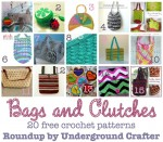 Bags and Clutches, roundup of 20 free crochet patterns on Underground Crafter