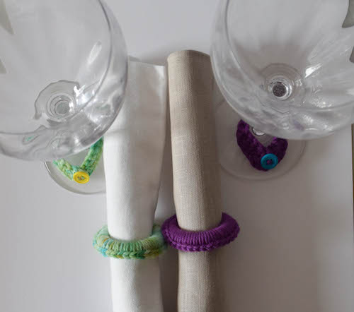 "Girls' Night In Napkin Rings and Wine Glass ""Charms,"" free crochet pattern with photo tutorial by Underground Crafter 