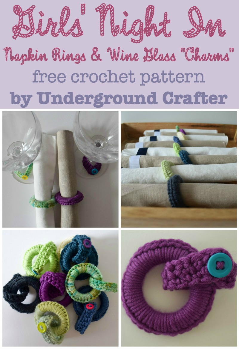 "Girls' Night In Napkin Rings and Wine Glass ""Charms,"" free crochet pattern with photo tutorial by Underground Crafter"