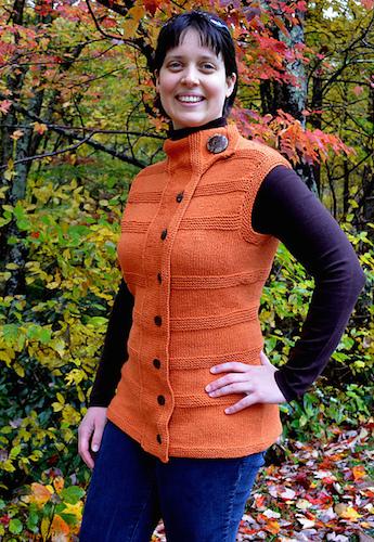 Lindsay Lewchuk, modeling her Motoring Vest knit pattern designed in xx yarn.