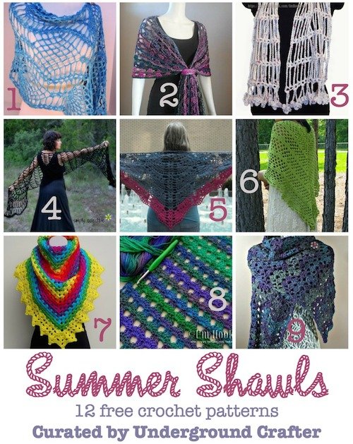 A roundup of 12 free crochet patterns for summer shawls on Underground Crafter