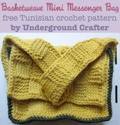 Basketweave Mini Messenger Bag, free Tunisian #crochet pattern by @ucrafter