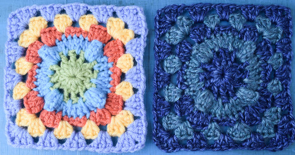 "Circle with Popcorn Granny Square, free 6"" # crochet square pattern by @ucrafter"