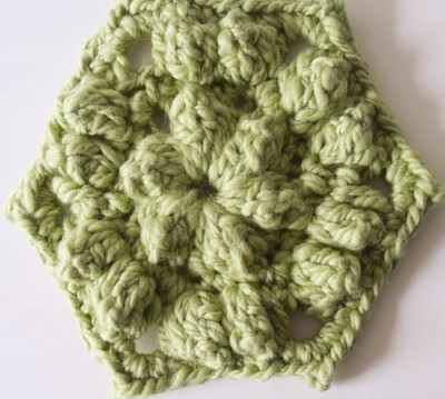 Popcorn Hexagon, free #crochet pattern by @ucrafter in @galleryarns Inca Eco
