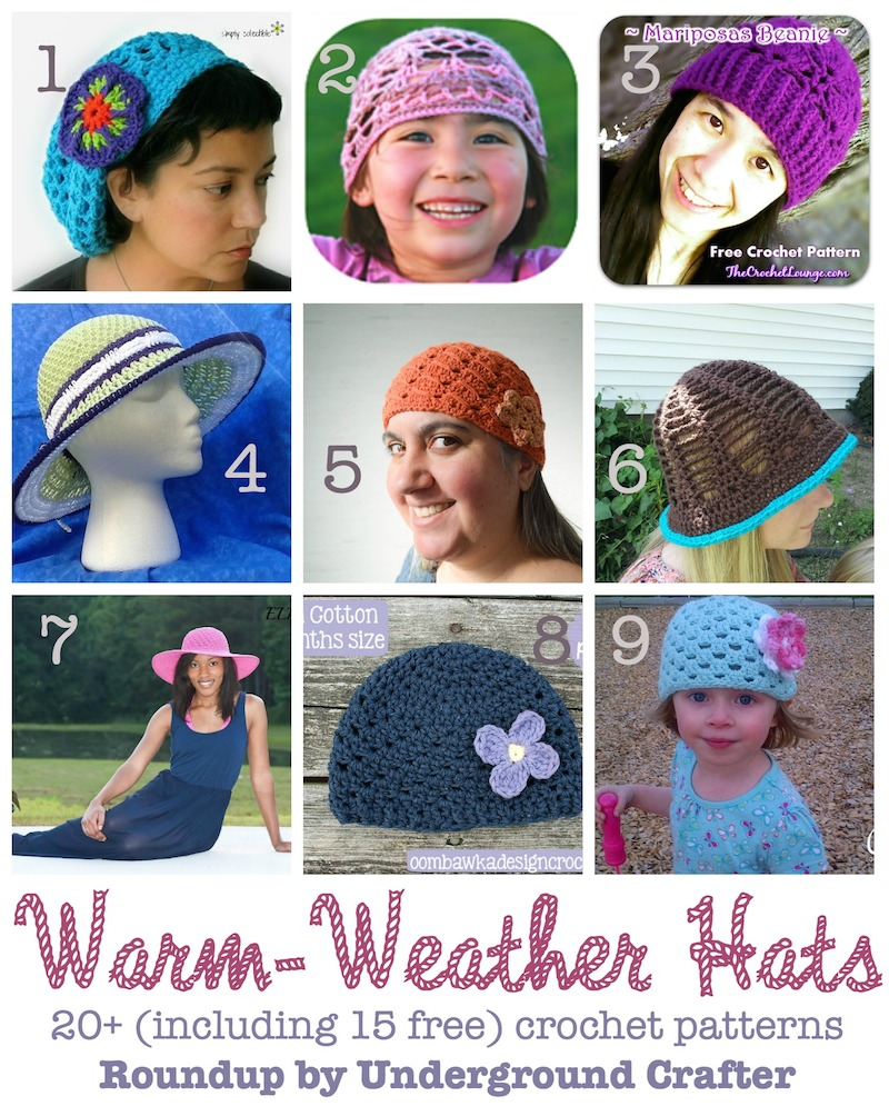 Warm-Weather Hats, roundup of 20+ #crochet patterns (including 15 free patterns), curated by @ucrafter