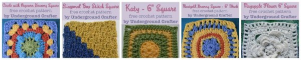 Free 6 inch crochet square patterns on Underground Crafter