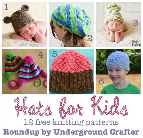 Hats for Kids roundup of 12 free knitting patterns curated by Underground Crafter