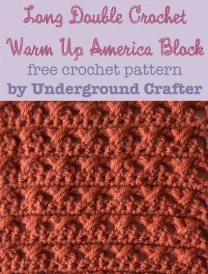 Long Double Crochet Warm Up America Block, free #crochet pattern by Marie Segares @ucrafter