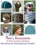 15 free #crochet patterns for men's accessories. Roundup curated by Underground Crafter.