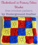 Checkerboard in Primary Colors Blanket, free #crochet pattern in 6 sizes by Underground Crafter