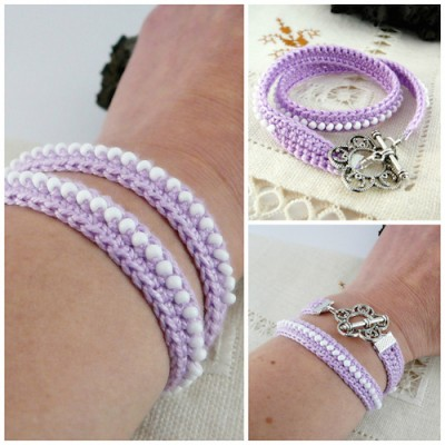 Crochet Bracelet, free crochet pattern in Spanish with photo tutorial and international stitch symbols by Pitusas y Petetes.