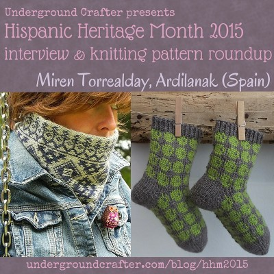 Interview with knitting designer and yarnie Miren Torrealday from Ardilanak and knitting pattern roundup on Underground Crafter