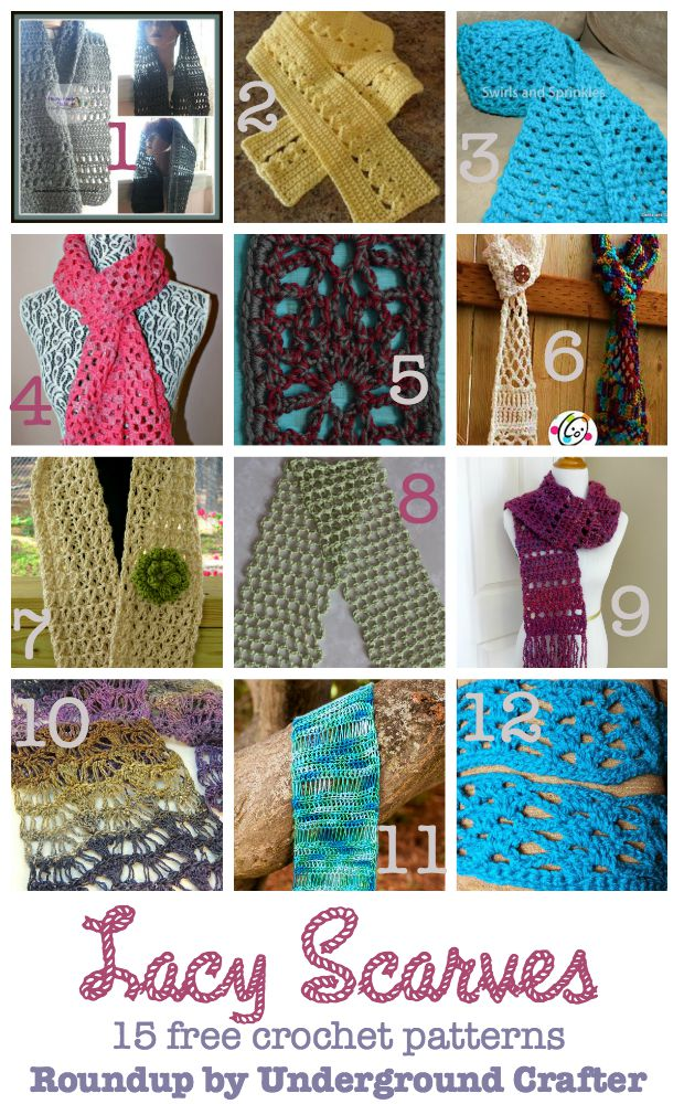 Roundup of 15 free #crochet patterns for lacy scarves on Underground Crafter