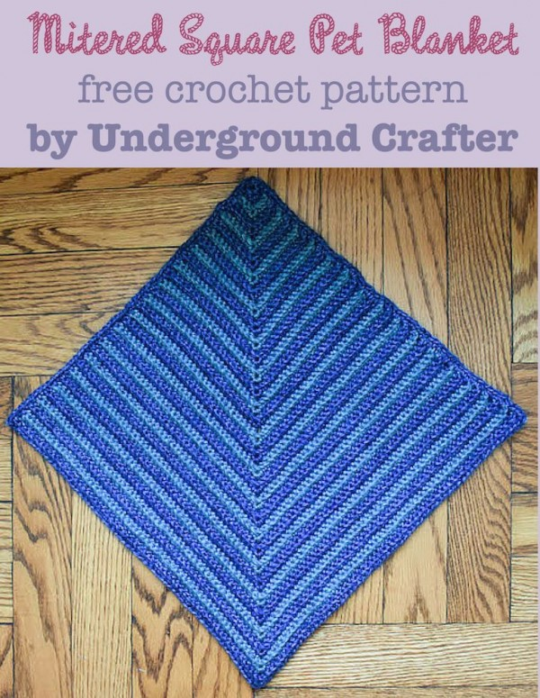 Mitered Square Pet Blanket, free crochet pattern by Marie Segares/Underground Crafter