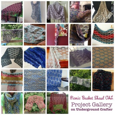 The Picnic Basket Shawl is a free crochet pattern by Marie Segares/Underground Crafter. The crochet-a-long ended on August 31, 2015, and here are some of the beautiful projects made!