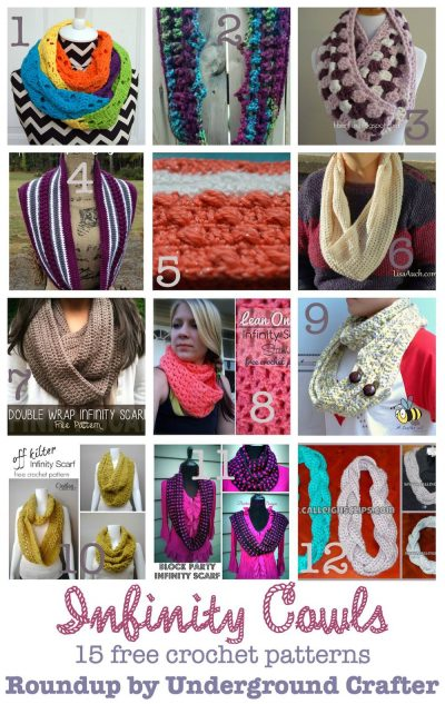#FlashbackFriday: Roundup of 15 free #crochet patterns for infinity cowls on Underground Crafter