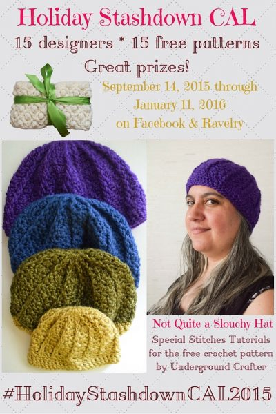 Special stitches tutorials for Not Quite a Slouchy Hat, free #crochet pattern by Marie Segares/Underground Crafter for #HolidayStashdownCAL2015 - Learn the FPdc and hdc2tog with video and photo tutorials