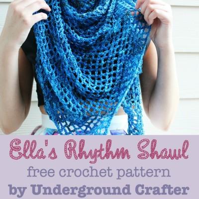 Ella's Rhythm Shawl, free #crochet pattern by Marie Segares/Underground Crafter. Image (c) Yarnbox.
