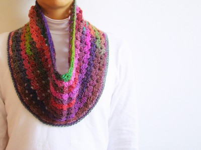 Mille Colori Cowl, free crochet pattern by Maria Isabel, in English, Spanish, and with photo tutorial.