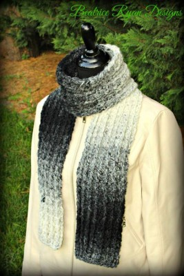Ombre Ridges Scarf, free crochet pattern by Beatrice Ryan Designs.
