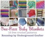 One-Piece Baby Blankets, roundup of 15 free #crochet patterns on Underground Crafter